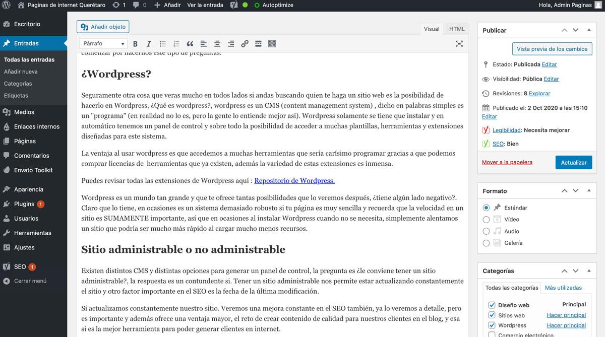Panel de WordPress